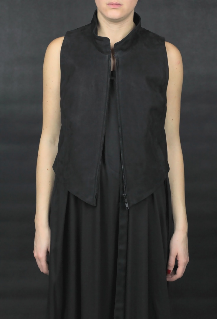 Black Lamb Leather Waistcoat