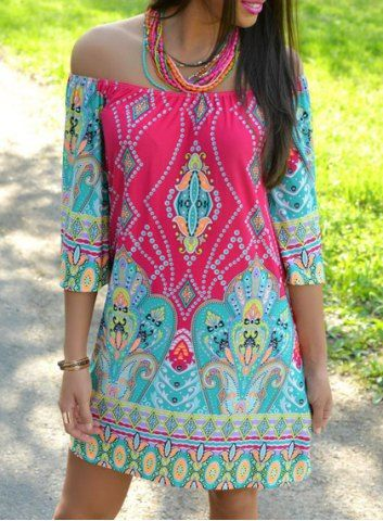 Bohemian Style Off The Shoulder 3/4 Sleeve Printed Dress For Women