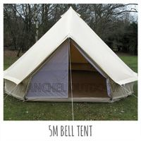 DANCHEL 5M Cotton Canvas Bell Tent Waterproof tipi tent with Stove Jacket on the wall or on the roof