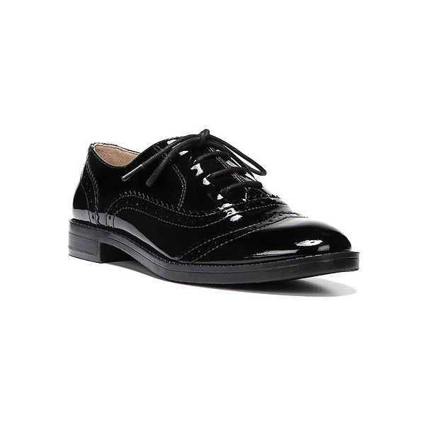 Franco Sarto Imagine  Lace-Ups ($79) ❤ liked on Polyvore featuring shoes, oxfords, black patent, dress shoes, women, black oxfords, black patent leather shoes, franco sarto shoes, oxford shoes and lace up oxfords