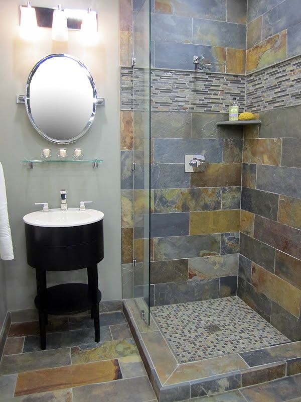 Rustic Slate and Glass Shower bathroom-inspiration like the slate, but I want a different color of wood for the vanity.