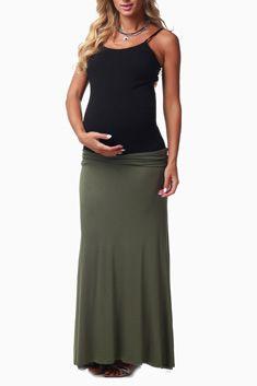 Olive Basic Maternity Maxi Skirt