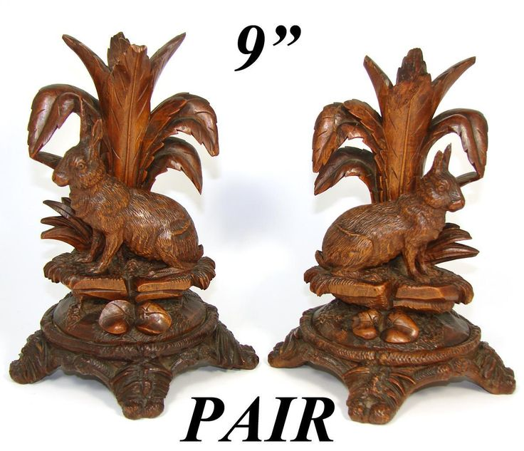 "8.75"" Tall Antique Black Forest Carved Candle or Epergne Stands, Rare from antiques-uncommon-treasure on Ruby Lane"