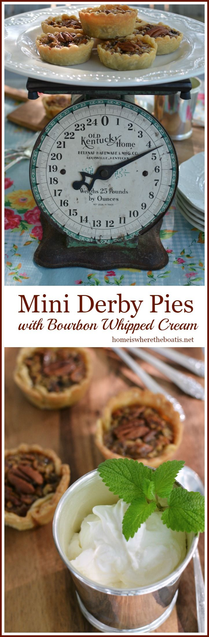 Mini Derby Pies with Bourbon Whipped Cream | homeiswheretheboatis.net #KentuckyDerby #recipe