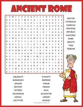 Ancient Rome Word Search Puzzle:A word search puzzle to help students learn about Ancient Rome.  Includes 26 vocabulary words.  Puzzlers will have to look in all directions to find the hidden words and some of the words overlap.  This makes a fairly challenging puzzle.