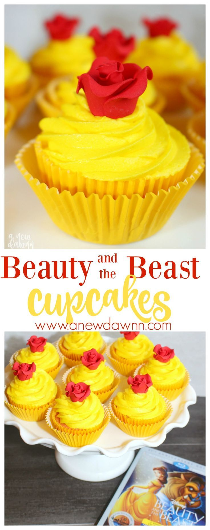 Celebrate the release of the Beauty and the Beast 25th Anniversary Edition DVD with these gorgeous Belle inspired cupcakes. AD #BeautyandtheBeast