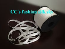 10mm*150m white Genuine solid pure silk ribbon for embroidery and handcraft project, costume accessory fabric, free shipping(China (Mainland...