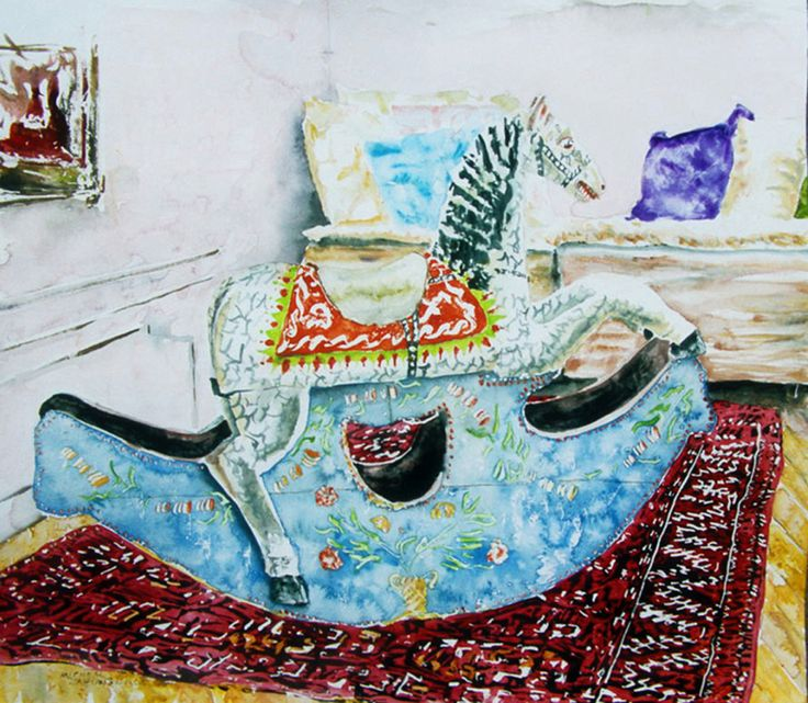 "rocking horse (2) 19.5"" x 22.5"" micheal zarowsky / watercolour on arches paper / available $950.00"