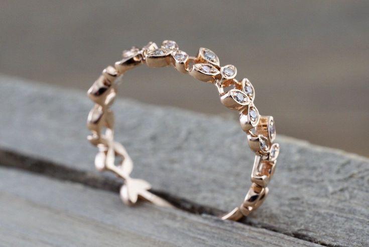 14kt Gold Diamond Leaf Petal Vine Vintage Design RR010010