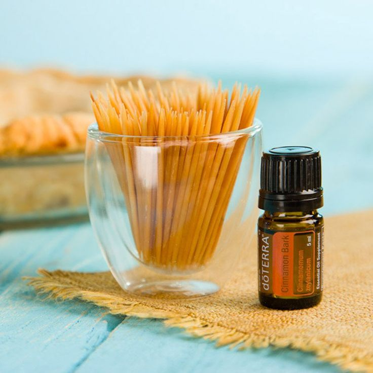 Flavored toothpicks can help freshen breath and clean teeth. Try this DIY to make your own flavored toothpicks with Cinnamon essential oil.