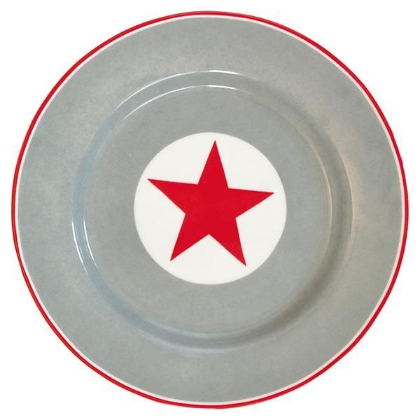 77 kr GreenGate - Tallerken Big Star Red - Dia 20,5 cm.