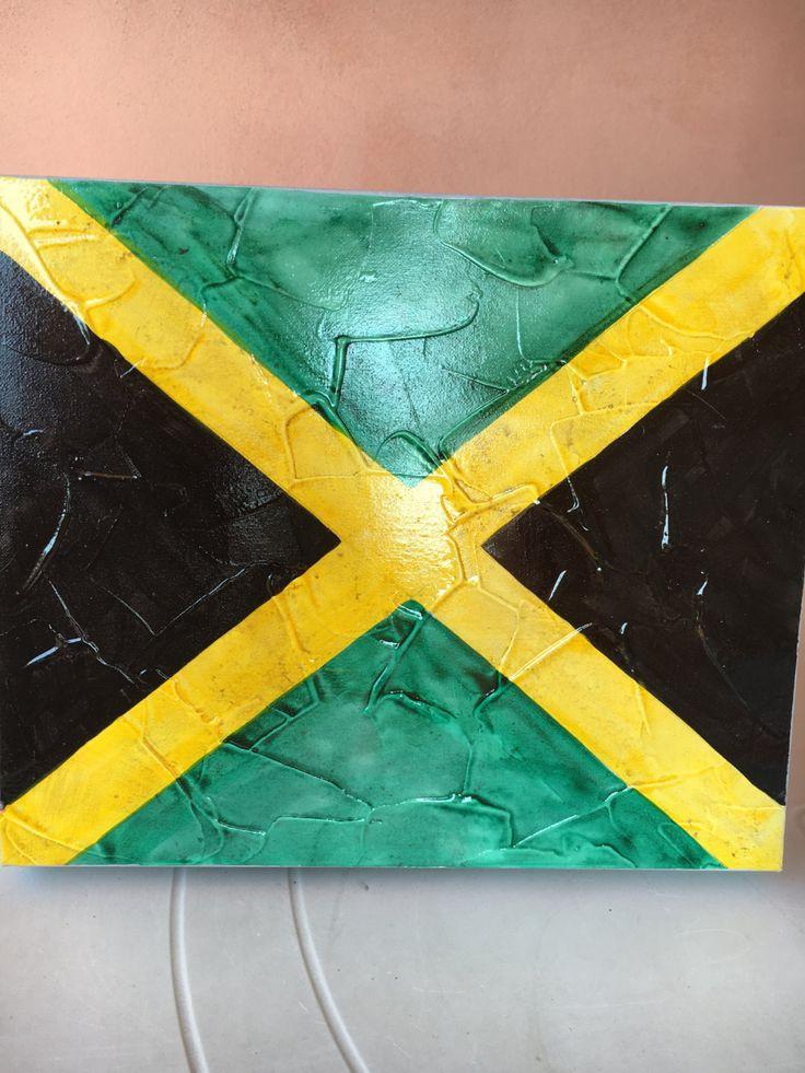 25x30 acrilico su tela bandiera flag Giamaica di soniacrea su Etsy