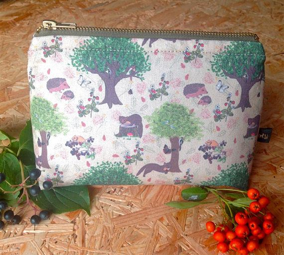Handmade Pine Marten woodland scene small cosmetic bag