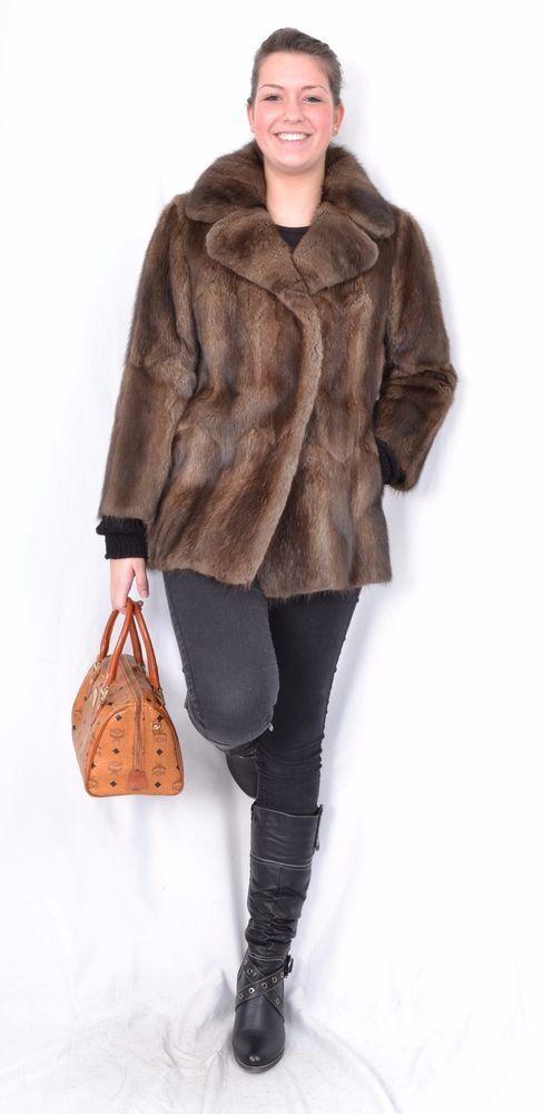 US468 Vintage Muskrat Musquash Fur jacket Coat no mink Bisam Pelzjacke ~ M #Handmade #BasicJacket