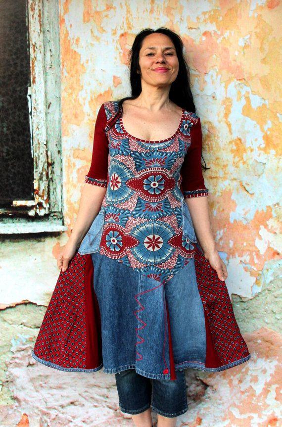 Denim-Jeans-Recycling-Kleid Tunika Hippie Boho Stil von jamfashion