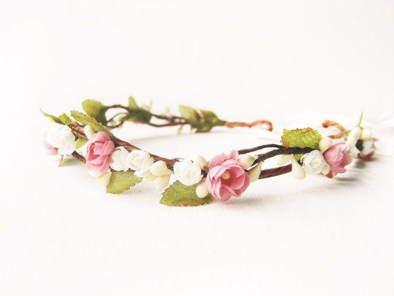 Flower crown Floral headband Rustic wedding hair by NoonOnTheMoon