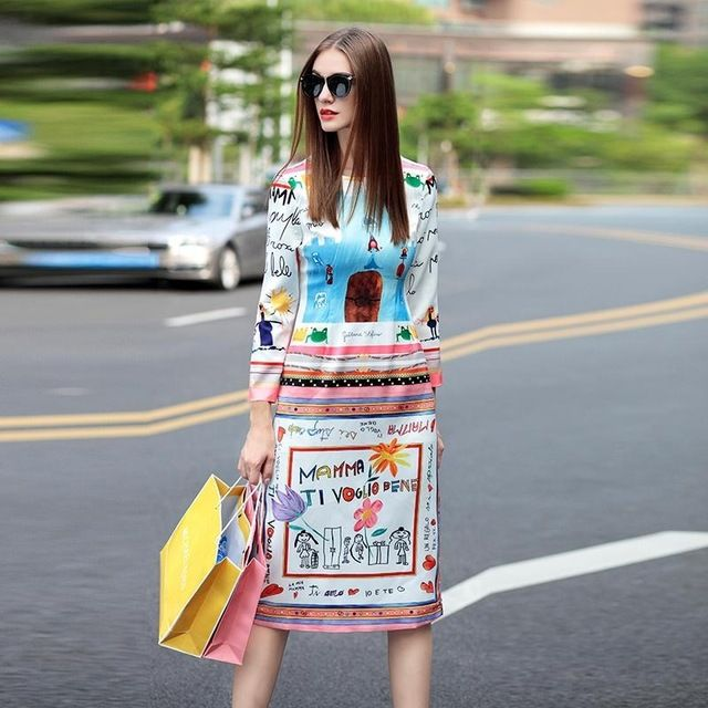 Designer Dress 2016 New Fashion Runway Brand Novelty Letter Cartoon Print Knee-Length White Luxury Dress For Women US $70.84 /piece To Buy Or See Another Product Click On This Link  http://goo.gl/IdJFhm