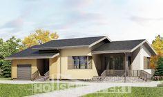 135-002-Л Проект одноэтажного дома, гараж, простой загородный дом из арболита