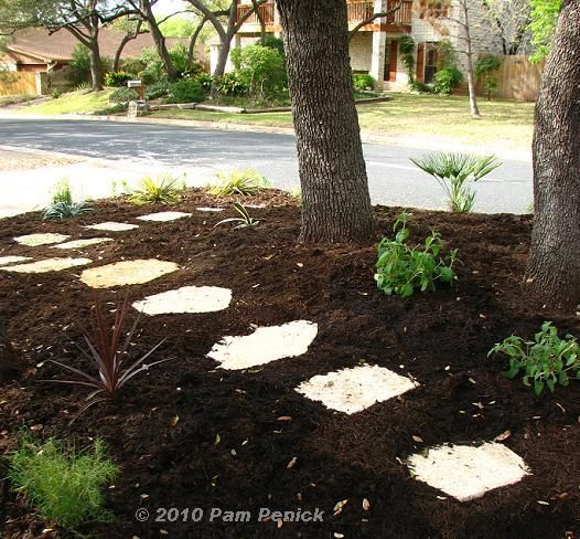 Stepping stones in mulch through the middle a stepping for Landscaping rocks you can walk on