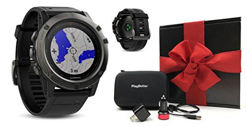 Garmin fenix 5X Sapphire (Slate Gray with Black Band) GIFT BOX Bundle   Includes Multi-Sport GPS Watch with Wrist-HR/TOPO Maps, PlayBetter USB Car & Wall Adapter, Hard Carrying Case   Black Gift Box