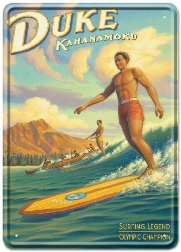 Duke Kahanamoku by Kerne Erickson - Tin Sign Postcard - Vintage Hawaiian Style by Pacifica Island Art. $5.98. Ready to Mail - Two USPS 1st Class Stamps required - we advise requesting Hand Cancellation at your local Post Office. Beautiful Four Color Offset Printing - protected with a high gloss lacquer finish - with rounded corners and embossed edges to ensure stability. Paper Coated Back - The back of the card is coated with recycled paper and can be written on like a...
