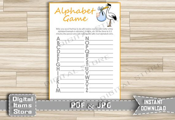 Baby Shower Alphabet Game with Stork  Name by DigitalitemsShop