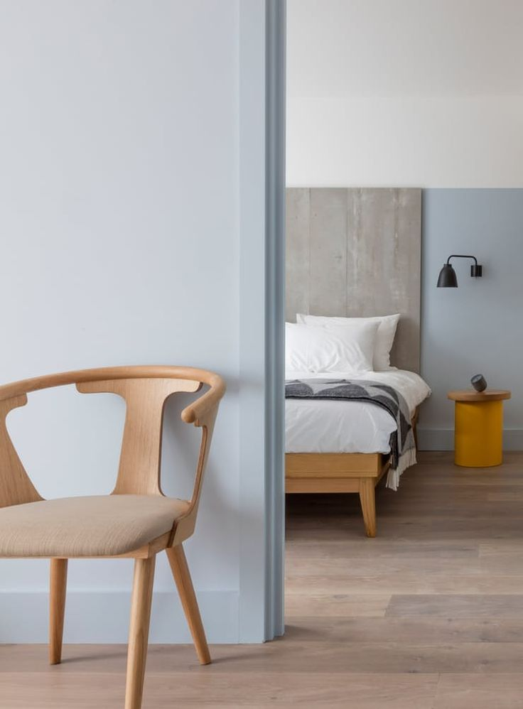 This beautiful ice-cream colored space is London's Leman Locke hotel, whose unexpected mix of sleek modern pieces and soft colors is incredibly soothing. See more at Dezeen. (Are These the Most Stylish Hotels in the World? | Apartment Therapy)
