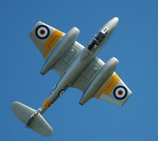 Gloster Meteor.  Makes you realize just how stubby winged ( and small aspect ratio) these planes really were.
