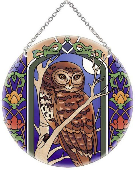 Beautifully designed painted glass suncatcher with a wonderfully detailed owl theme. An item you'll love to have in your home for years to come! 6.5 inches x 6.5 inches x 1 inches.