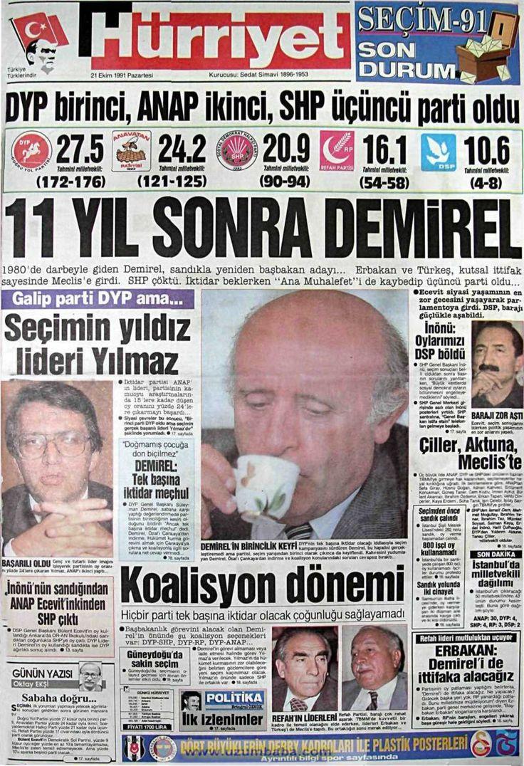 Hürriyet gazetesi 21 ekim 1991