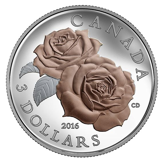 Pure Silver Coin with Selective Rose Gold Plating – Queen Elizabeth Rose – Mintage: 10,000 (2016)