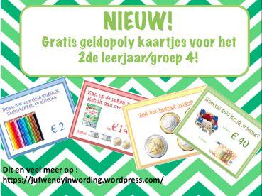 Nieuwe geldopoly kaartjes op juf Wendy in wording!!!