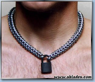 Chainmail & More Snake maille slave collar, Locking chainmaille jewelry, Gothic men's necklace