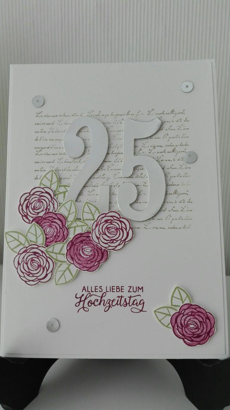 Stampin' Up! Karte zur Silberhochzeit. Mit den Stempelsets: Backround Bits, Blüte des Augenblicks und Alles Liebe, Geburtstagskind.