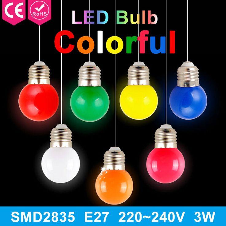 1 stücke 220 V Hause Beleuchtung Bunte Led-lampe Ampulle E27 3 Watt Energie sparlampen rot orange gelb grün blau milch rosa lampe smd2835