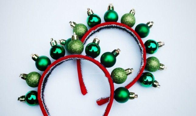 DIY Ornament Headband for the tacky Christmas party!