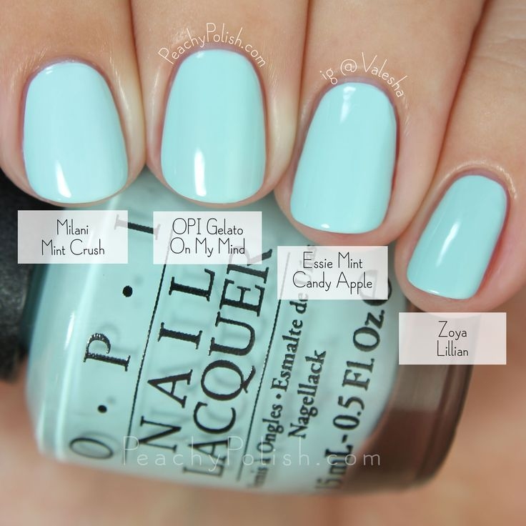 "OPI Gelato On My Mind Comparison | Fall 2015 Venice Collection | Peachy Polish 2 coats of each (from pointer to pinkie): Milani ""Mint Crush"", OPI ""Gelato On My Mind"", Essie ""Mint Candy Apple"", Zoya ""Lillian"".  The first 3 are barely distinguishable from one another.  I could not see the difference.  I was studying them had and MC and MCA are maybe a smidge more blue-toned than GOMM.  But, let's just go with straight dupes because that's pushing it.  Of the 3, ""Gelato On My Mind"" has the best…"