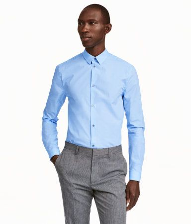 $14.99 / $19.99 - must have: 1 blue shirt, cheaper quality would also do :-* (see http://www.hm.com/us/product/49110?article=49110-C ) Light blue. PREMIUM QUALITY. Long-sleeved shirt in premium cotton with a narrow turn-down collar. Slim fit.  I imagine the light blue would pop alot on you, but i think one lighter blue is a good alternative to white ...