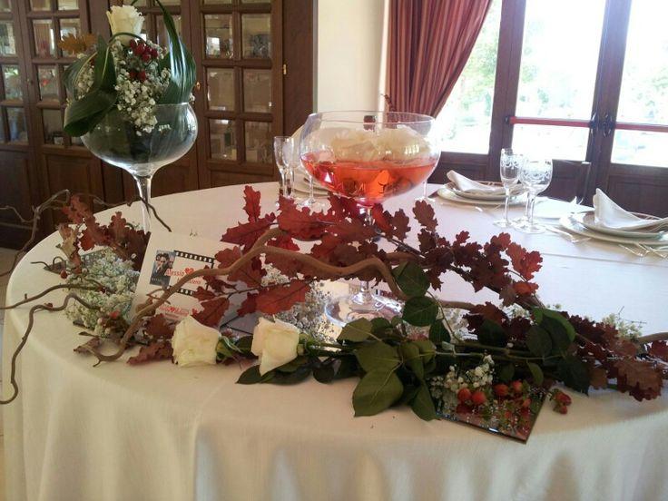 Tavolo SposiI #Autunno #Rosso#wedding #matrimonio #specchi #quercia#rose