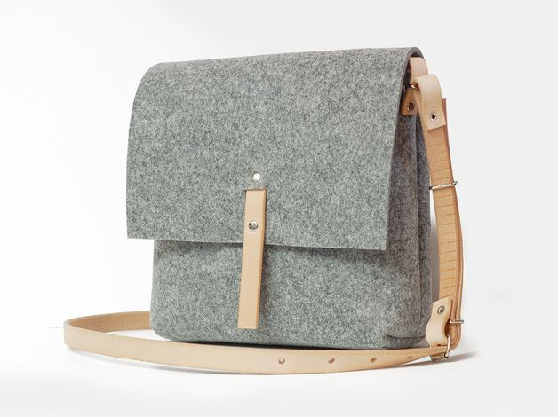 Felt with natural leather accents - utilitarian chic