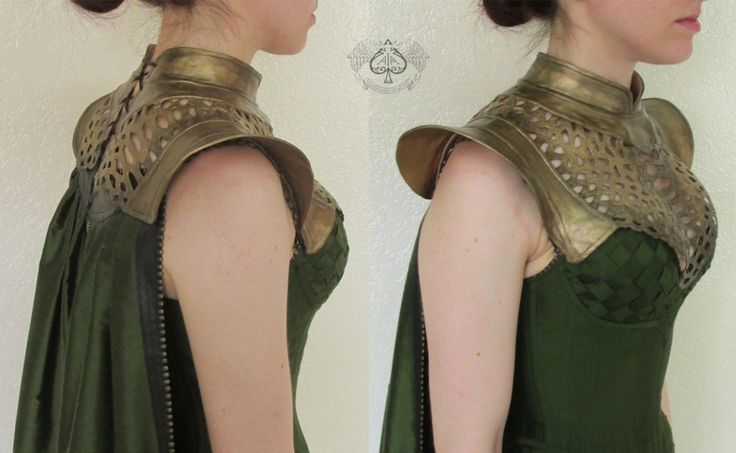 Decorative armor collar made for my Lady Loki costume For The Labyrinth of Jareth Masquerade Balll. The collar was inspired by a similar collar worn by Daenerys Targaryen in Game of Thrones, and Norse...