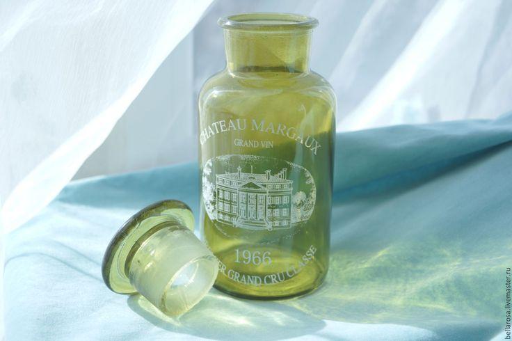 Купить Бутыль стеклянная. Винтаж. - зеленый, бутылка, бутылка декоративная, бутылка стеклянная, ваза для цветов