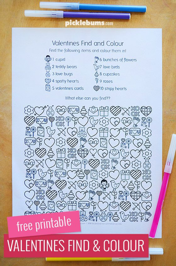 Free printable Valentines find and colour activity page #valentinesday #freeprintables #kidsactivities