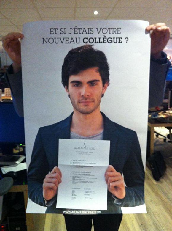 Vu sur la page Facebook de l'agence TBWA 365 (l'agence digital de TBWA) qui a reçu dans ses bureaux de Boulogne-Billancourt, le CV d'un certain Alexandre Rochet. Une demande de stage originale customisée pour l'agence !