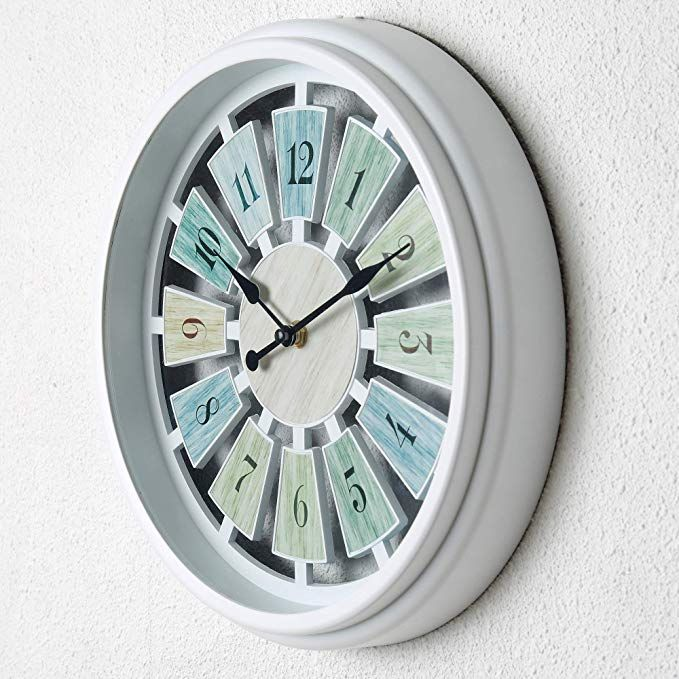 Tiords Decorative White 12analog Quarts Farmhouse Living Room Wall Clocks Battery Operated For Kitch Wall Clocks Living Room Farm House Living Room Wall Clock