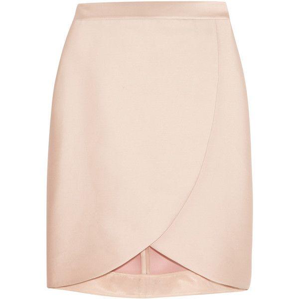 Stella McCartney Kravitz satin-twill wrap-effect skirt (£210) ❤ liked on Polyvore featuring skirts, bottoms, saias, stella mccartney, pastel pink, stella mccartney skirt, pink satin skirt, pastel skirt and pink skirt