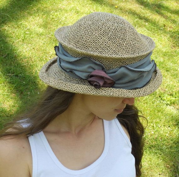 Straw Travel Hat Ladies Sun Hat Organic Jersey Band by hatjunkie