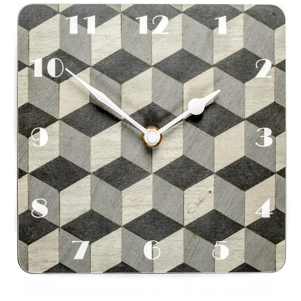 Grey Wall Clock Art Deco Wall Clock Birthday Gift Him Melamine Wall... (900 UAH) ❤ liked on Polyvore featuring home, home decor and clocks