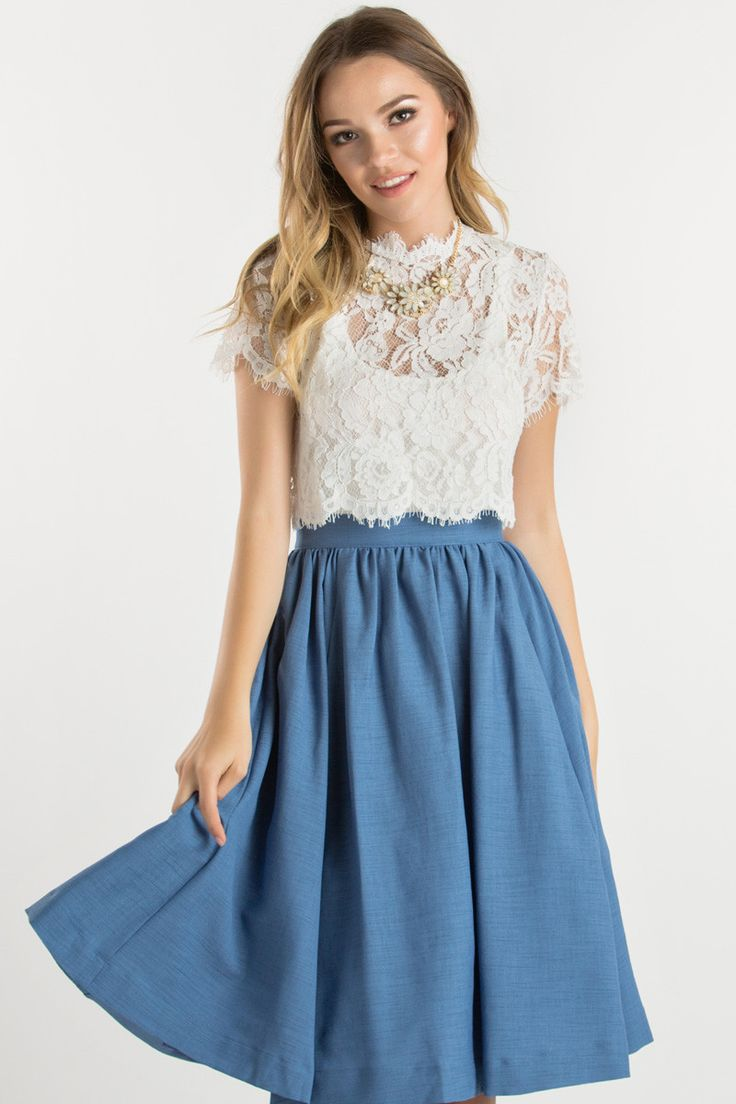 White Lace Tulip Back Top, What to wear with a skirt, Crop tops for skirts