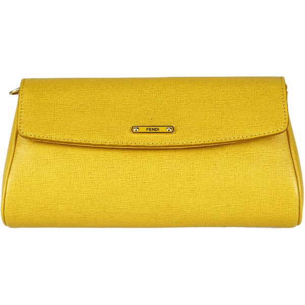 Fendi Clutches (4 845 ZAR) ❤ liked on Polyvore featuring bags, handbags, clutches, yellow, yellow handbag, yellow purse, fendi pochette, yellow clutches and fendi